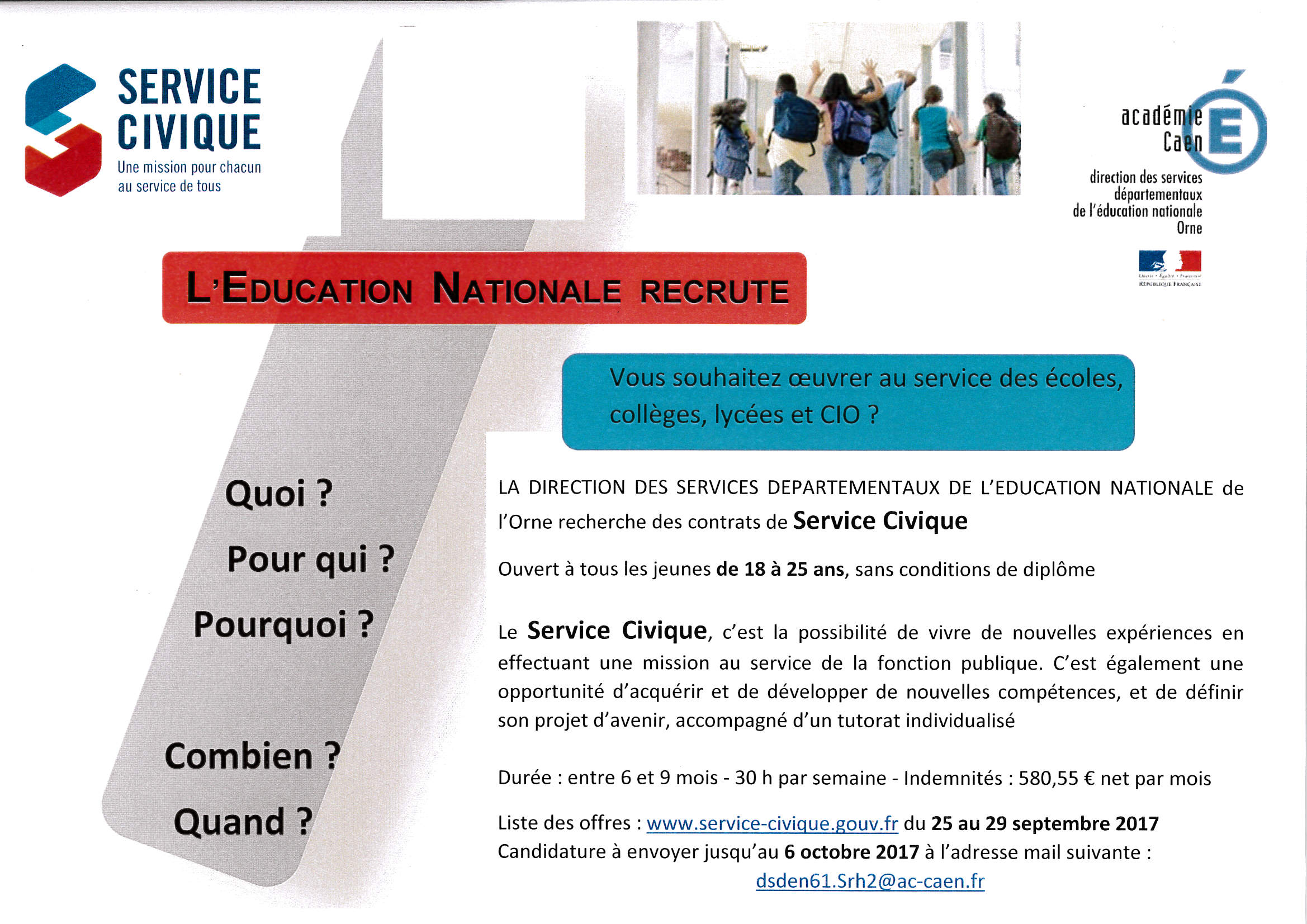 service civile education nationale